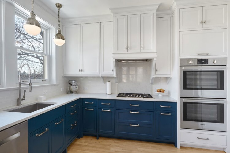 white and royal blue two kitchen cabinet