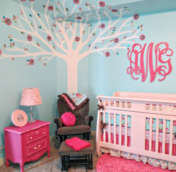 Coral And Turquoise Baby Room