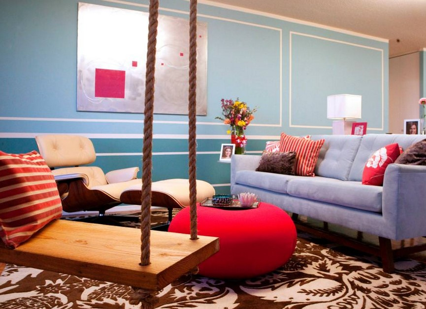 Living Room Decorations With Red And Turquoise