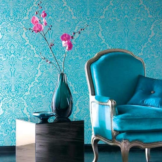 Nice Turquoise Damask Wallpaper