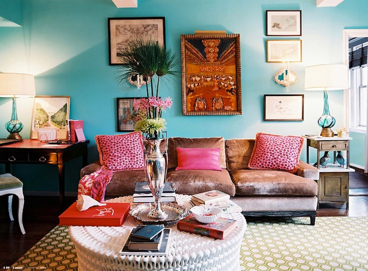 Turquoise And Coral Living Room