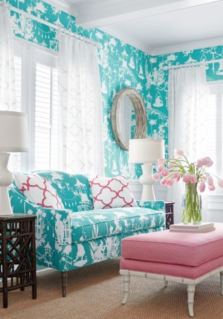 Turquoise And Coral Room