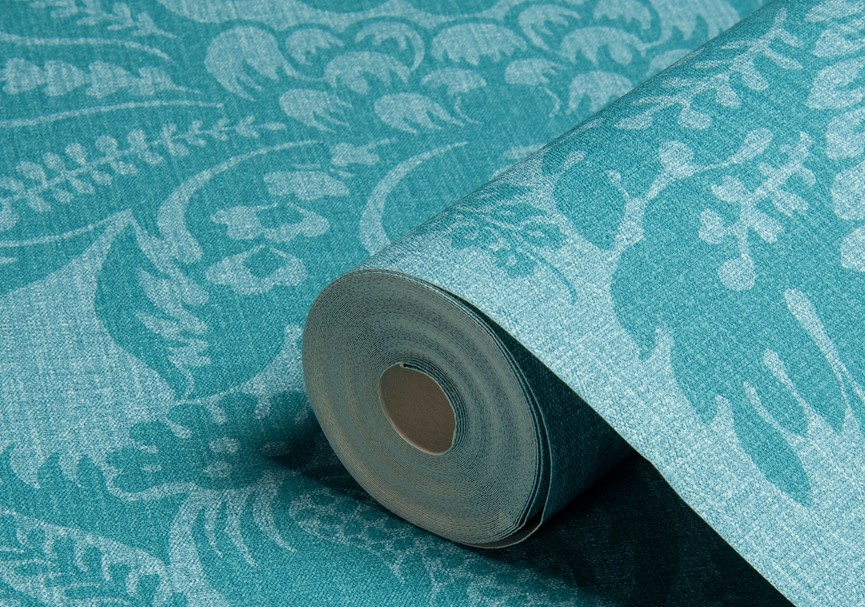 Turquoise Damask Wallpaper