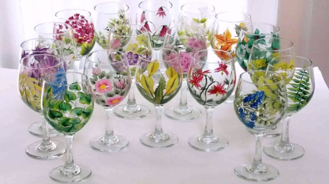 Beautiful garden on the wine glasses