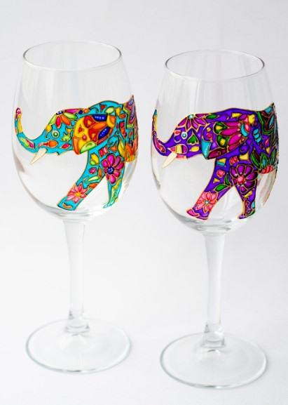 Colorful elephant inside the glass
