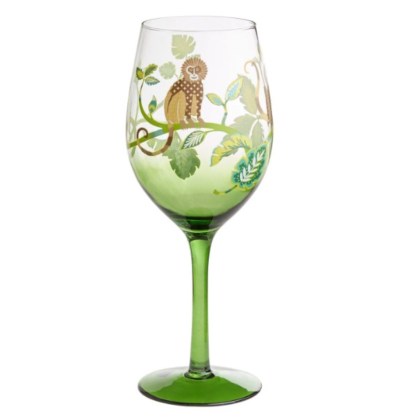 Cute monkey on the wine glasses