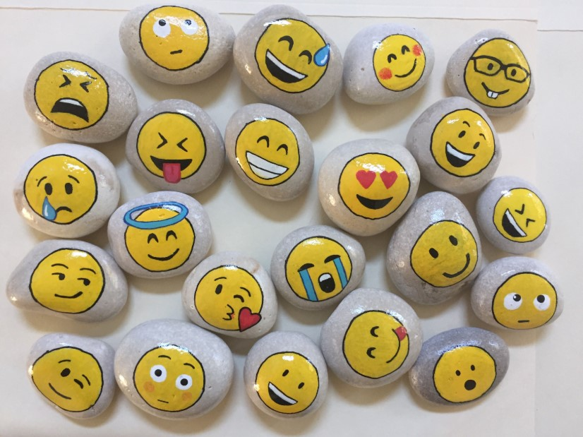 Emojis rock painting