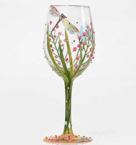 Glass with summer dragonfly