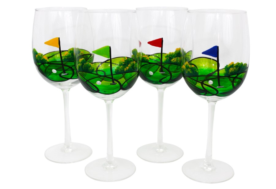 Golf field on the wine glass