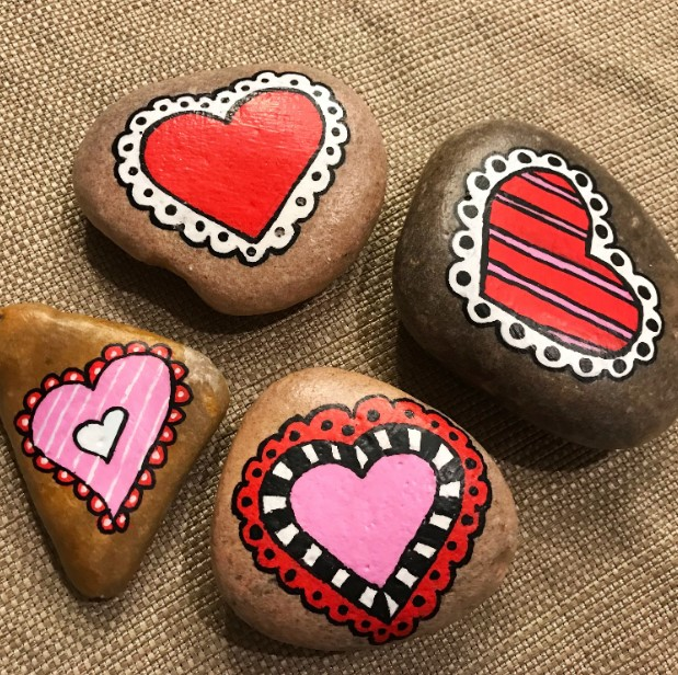 Lovely Hearts Rock Painting