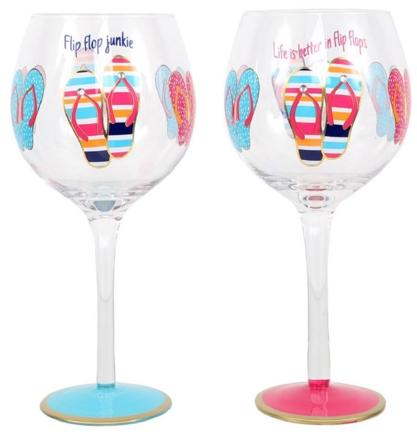 Wine glass with flip flops
