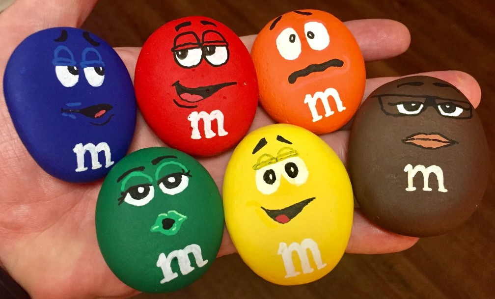 Yummy M&Ms rock painting