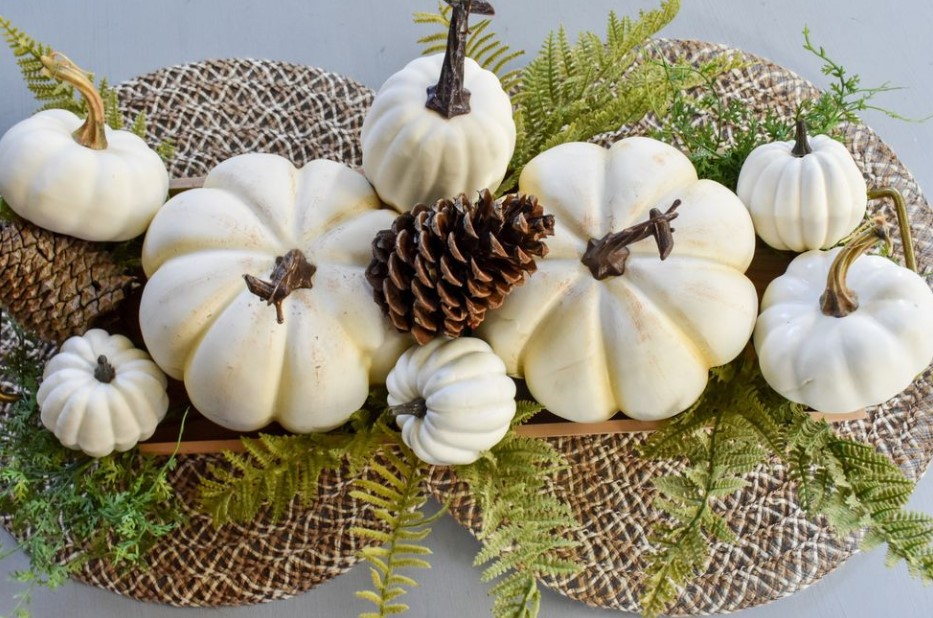 Faux Pumpkin and Foliage Tray