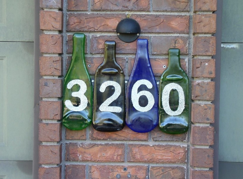 Glass Bottle House Number