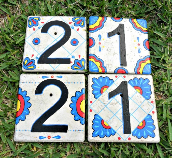 Hand-Painted Tiles House Number