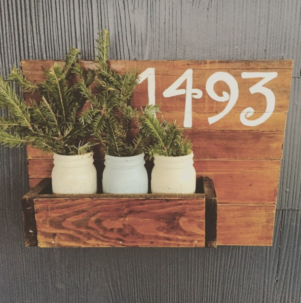 Mason Jar Planters House Number