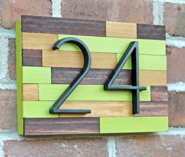 Wooden Collage House Number
