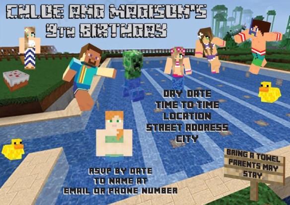 Adult Birthday Pool Party Invitation