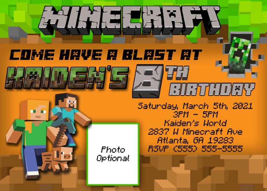 Avid Gamer Minecraft Birthday Invitations