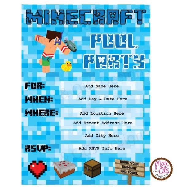 Birthday Pool Party Invitation