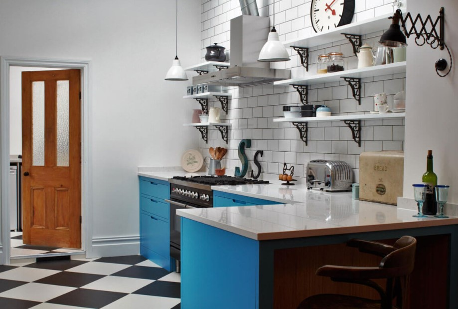 Blue Egyptian Kitchen Cabinets