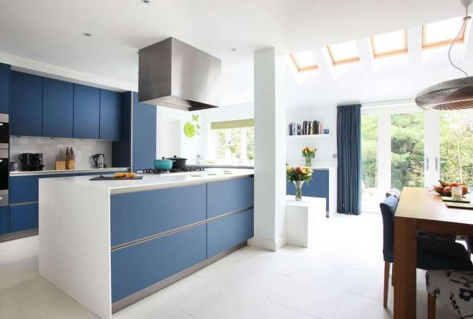 Blue Kitchen Cabinets in Minimalist Design