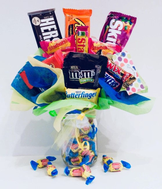Candy Bouquet in a Jar