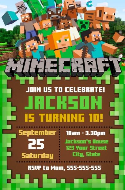 Character Loaded Minecraft Birthday Invitations