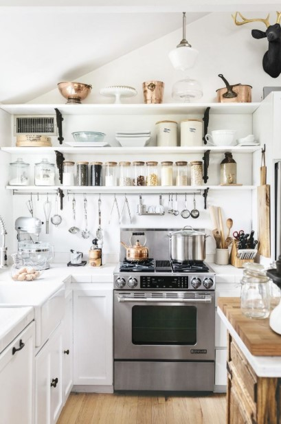 Cluttered White Kitchen
