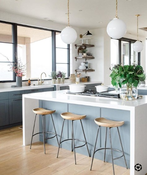 Cool Calming Island Blues Kitchen Cabinet