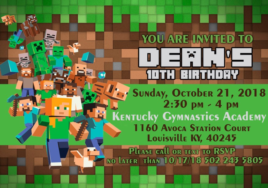 Crowded Minecraft Characters Invitation