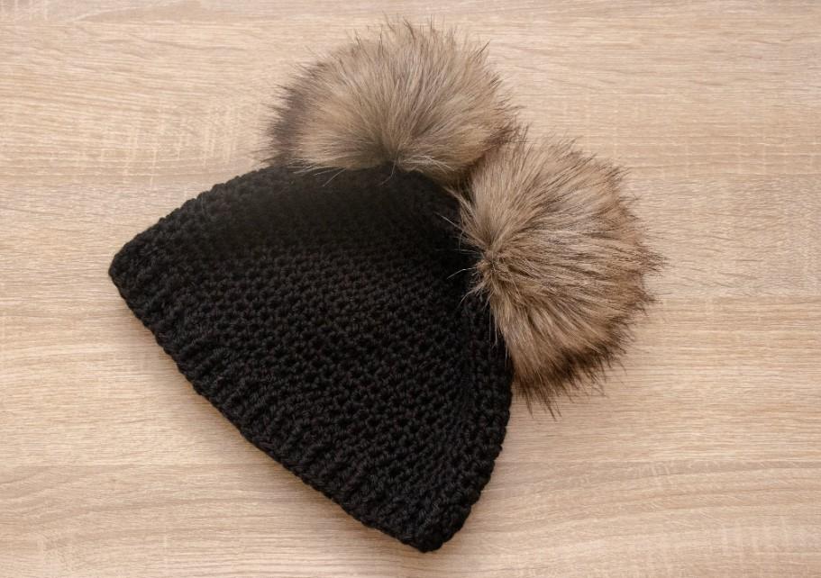 Double Pompom Crochet Hat