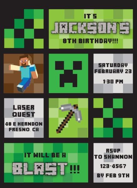 Easy to Understand Minecraft Birthday Invitations