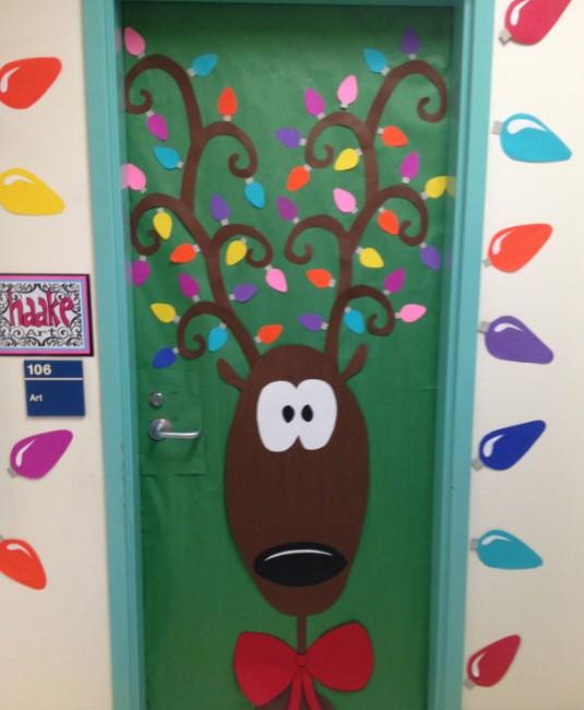 Green deer christmas classroom door
