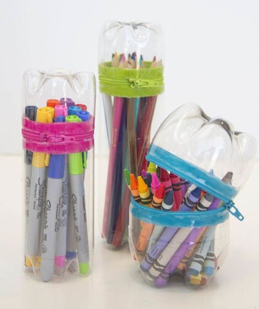 Pencil case from mineral bottle