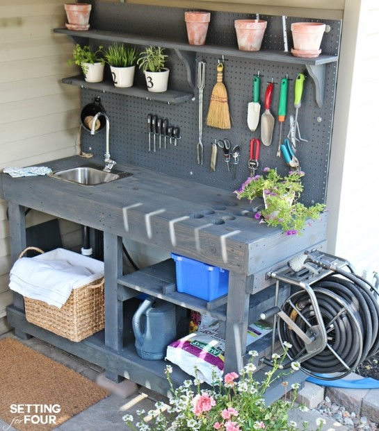 Repurposed Potting Bench