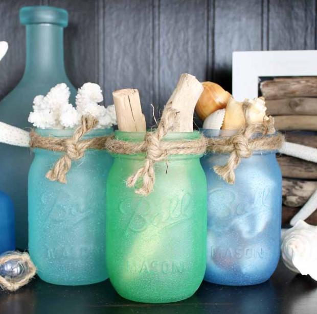 Sea Glass Paint Jars