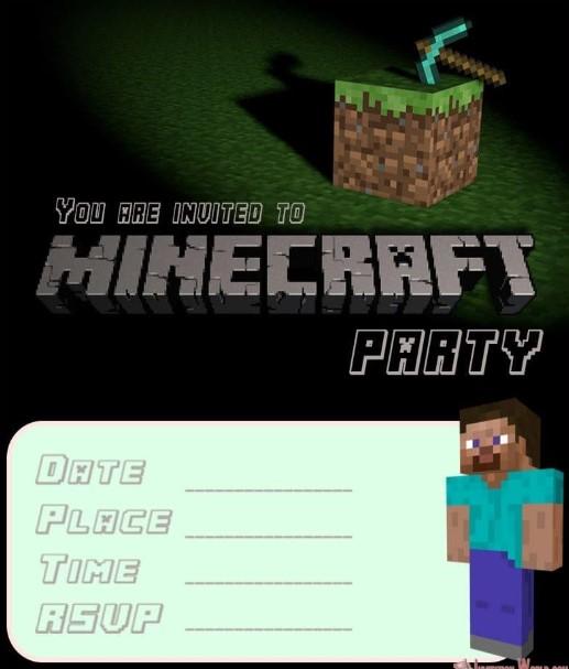 Simple Minecraft Party Invitation