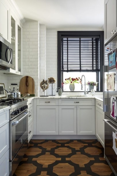 Small White U-shaped Kitchen