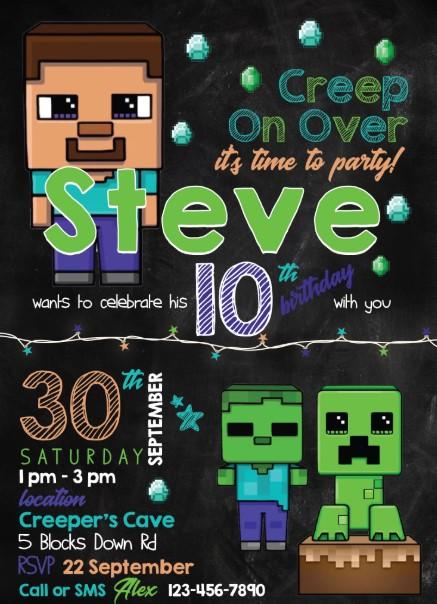 Smooth Chalkboard Minecraft Theme Invitation
