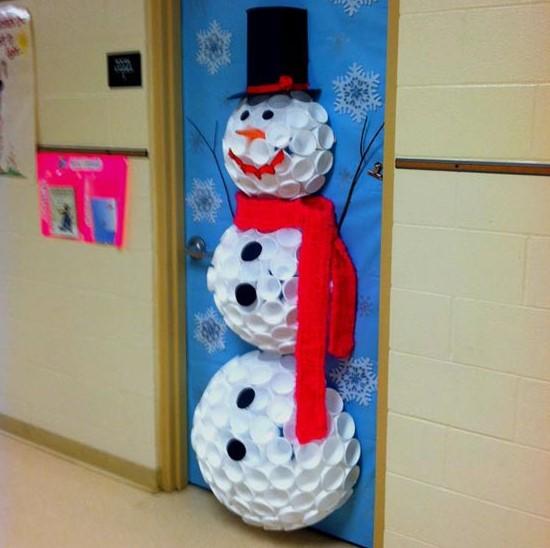 Snowman on classroom door