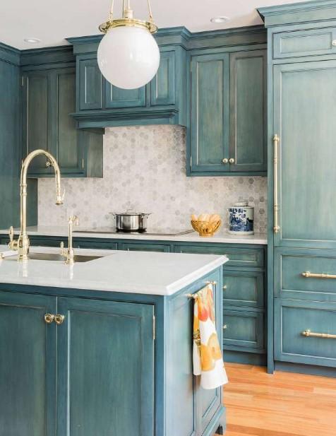 Stain Blue Kitchen Cabinets