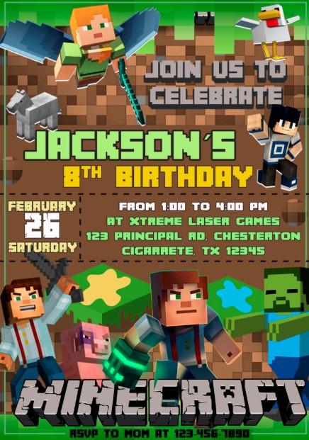 Thought Out Minecraft Theme Invitation