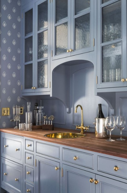 Wallpaper Texturing Blue Kitchen Cabinets