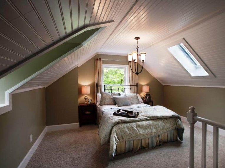 Attic bedroom in elegant and luxury look
