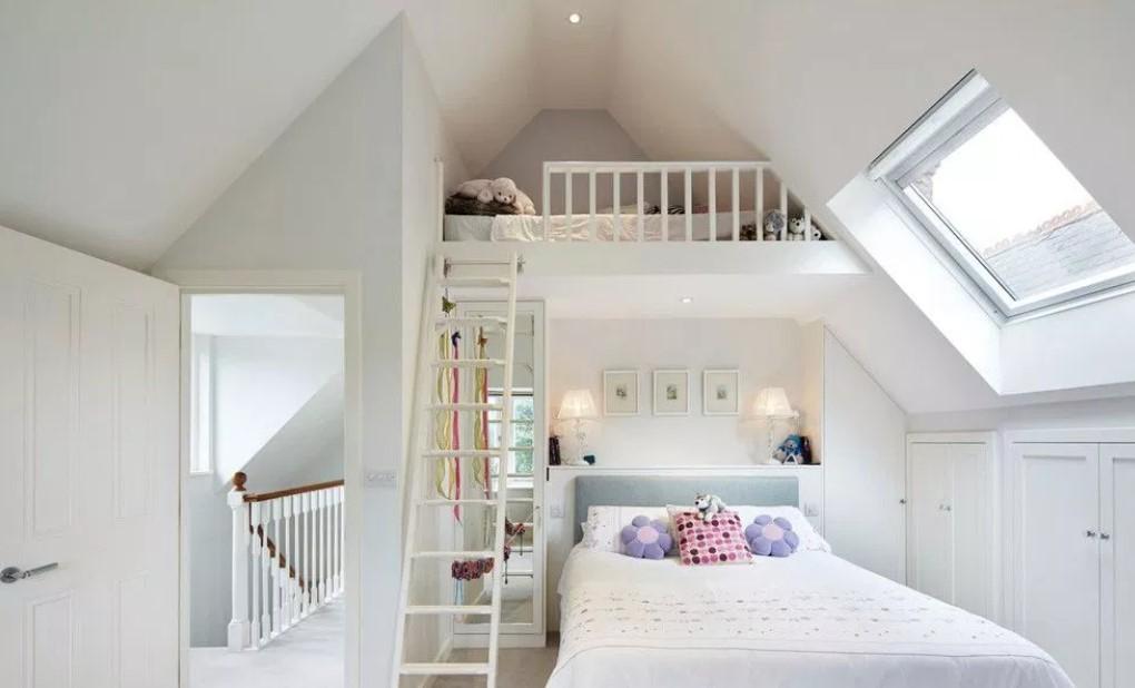 Attic bedroom with bunk bed