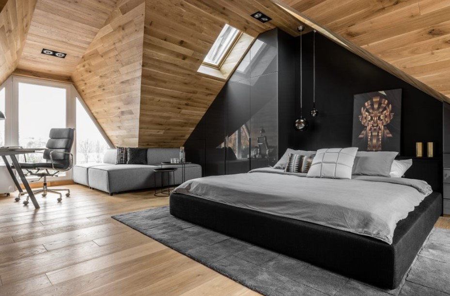 Attic bedroom with great combination