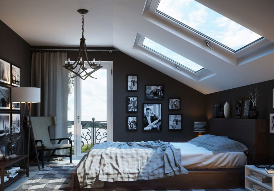 Attic bedroom with great details of ornaments