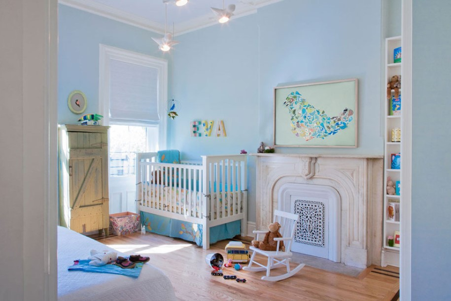 Baby girl bedroom in blue