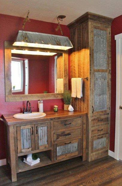 Rustic Bathroom Vanity with Cupboard